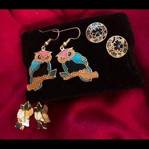 Vintage Cloisonné earring bundle